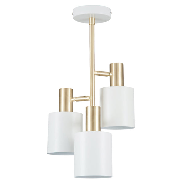 White & Brass 3 Light Electrified Pendant