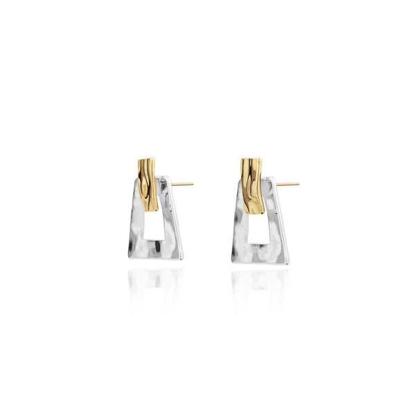 Joma Jewellery - Statement Studs Hammered Two Tone Ear Jackets