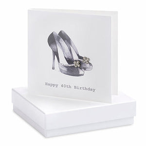 Crumble & Core Boxed Earring Card Black Shoes 40th