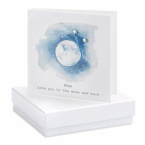 Crumble & Core Boxed Earring Card Mum Moon & Star