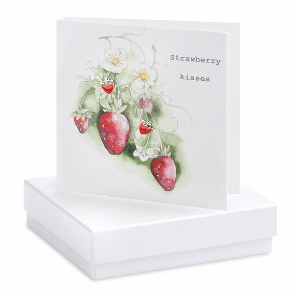 Crumble & Core Boxed Earring Card Strawberry - Strawberry Kisses