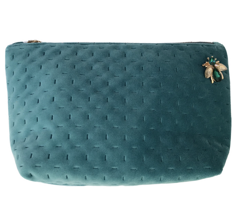 Sixton London - Brooklyn Velvet make-up bag in duck egg
