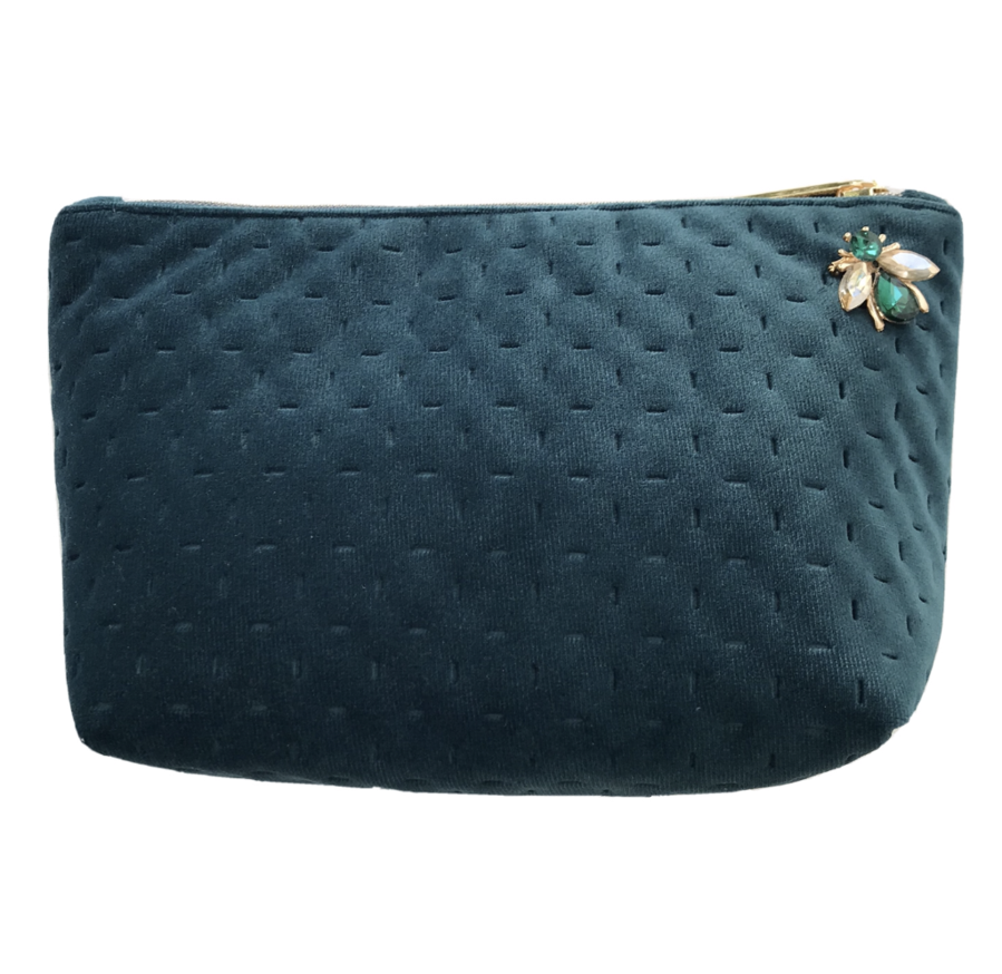 Sixton London - Brooklyn Velvet make-up bag in teal