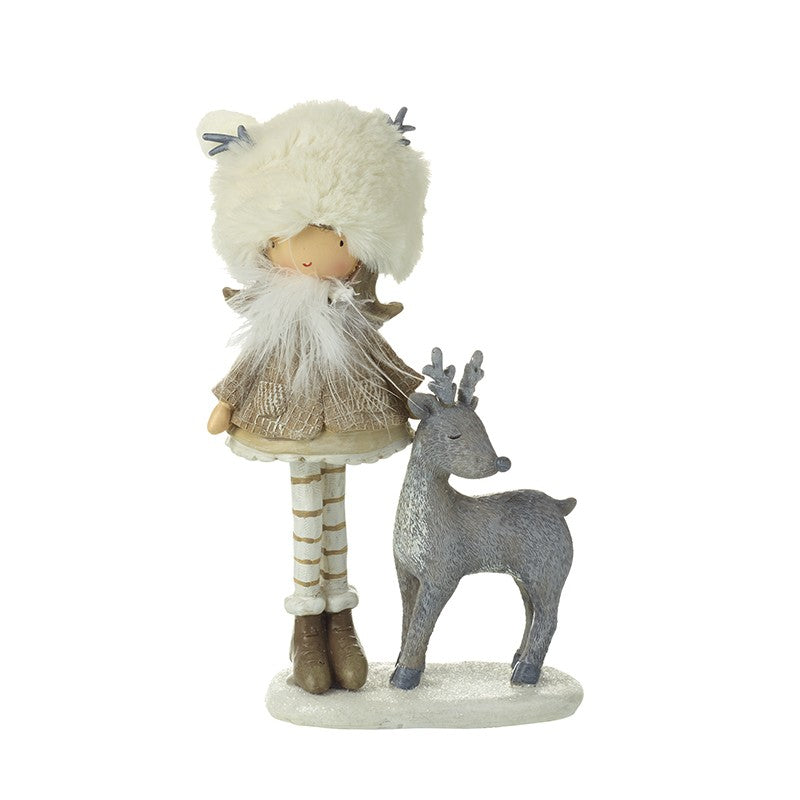 Standing Girl With With Fur Hat & Deer