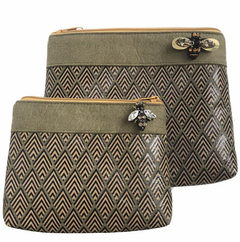Sixton London - Deco print felt pouch in military olive