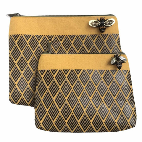 Sixton London - Deco print felt pouch in mustard