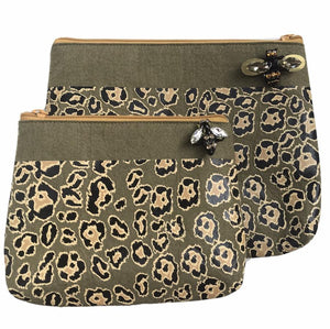 Sixton London - Leopard print felt pouch in military olive
