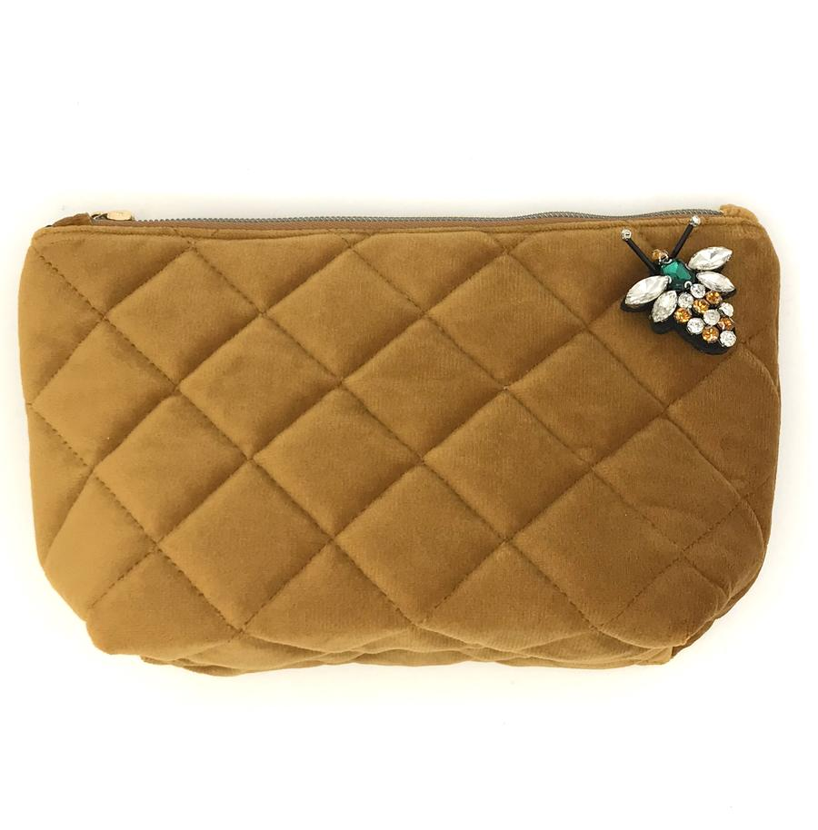 Sixton London - Nolita Quilted velvet make-up bag in rust