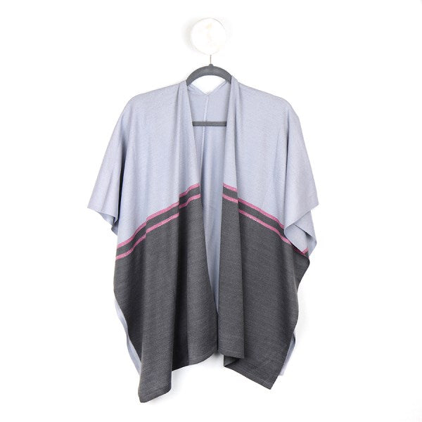 Heather and grey knit wrap with pink stripes
