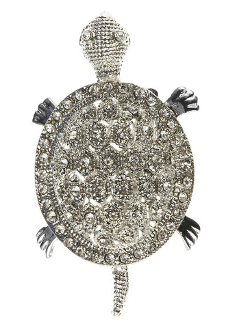 Rosie Fox - Pewter Turtle Crystal Hairclip & Brooch