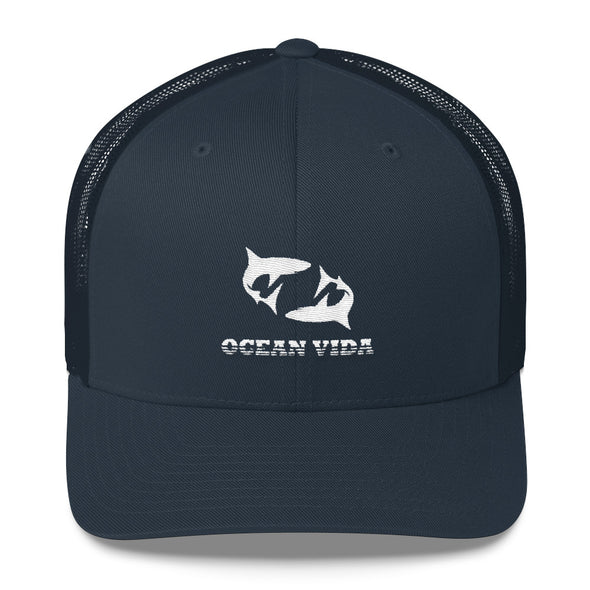 Navy Outdoor Trucker Cap with White Logo