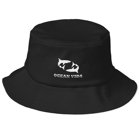 Black Old School Bucket Hat with White Logo