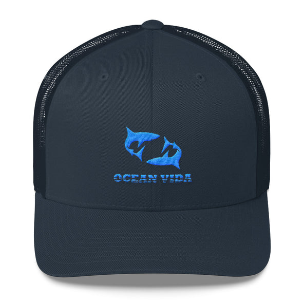 Navy Outdoor Trucker Cap with Sky Blue Logo