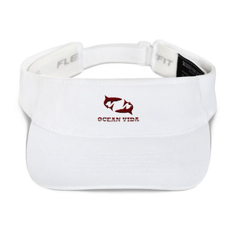 White Visor with Maroon Logo