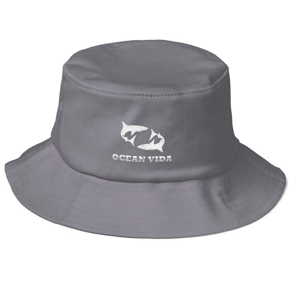 Gray Old School Bucket Hat with White Logo