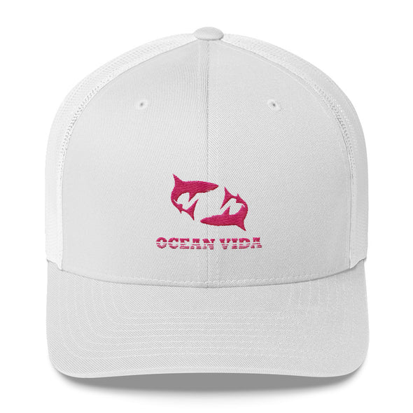 White Outdoor Trucker Cap with Pink Logo