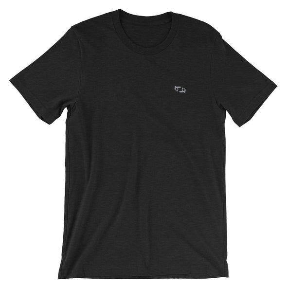 Black Heather T-Shirt with Embroidered Gray Sharks