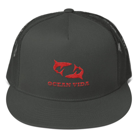 Charcoal Foam Trucker Cap with Red Logo