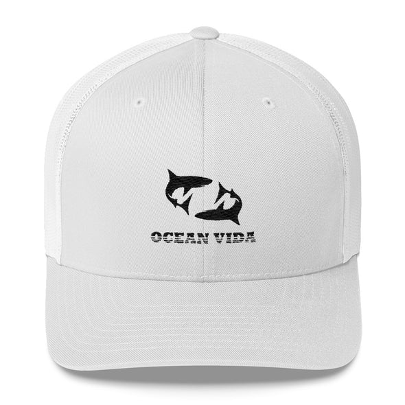 White Outdoor Trucker Cap with Black Logo