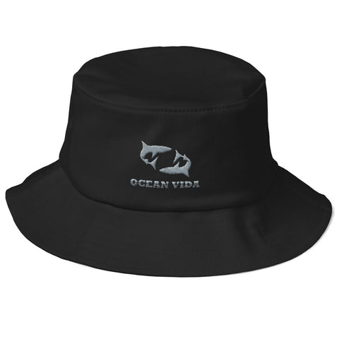 Black Old School Bucket Hat with Gray Logo