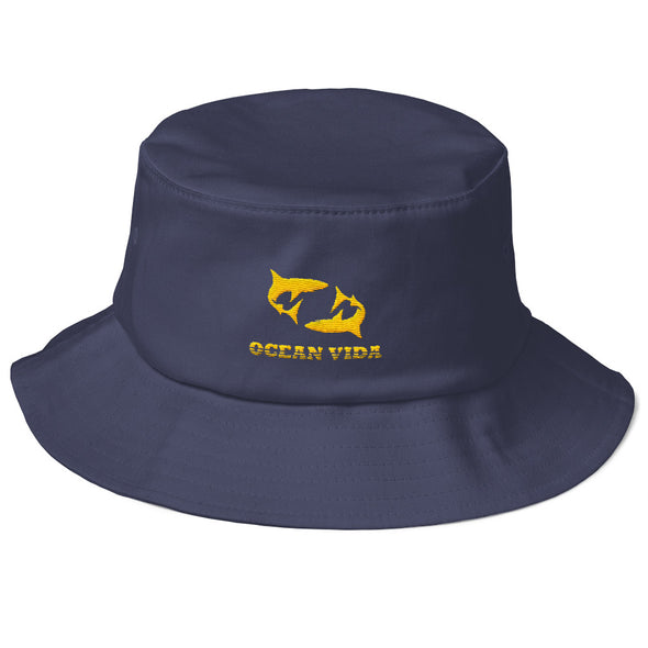Navy Old School Bucket Hat with Yellow Logo