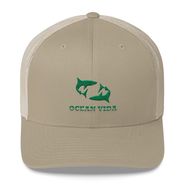 Sand Outdoor Trucker Cap with Seaweed Green Logo