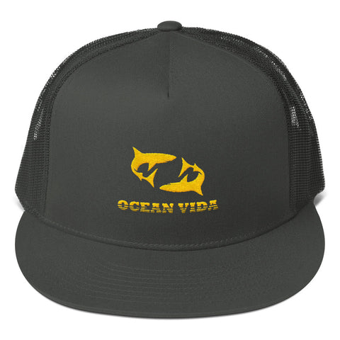 Charcoal Foam Trucker Cap with Yellow Logo