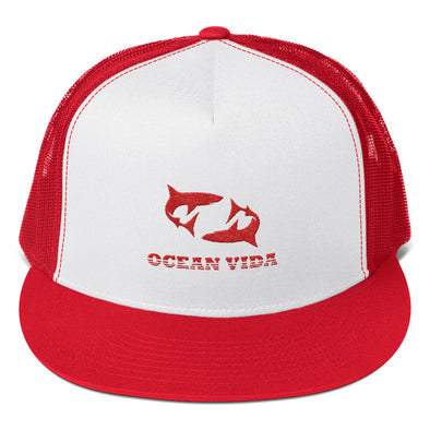 Red Foam Trucker Cap with Red Logo