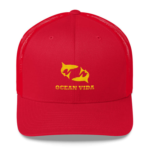 Red Outdoor Trucker Cap with Yellow Logo