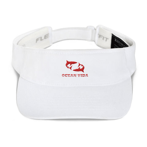White Visor with Red Logo