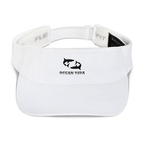 White Visor with Black Logo