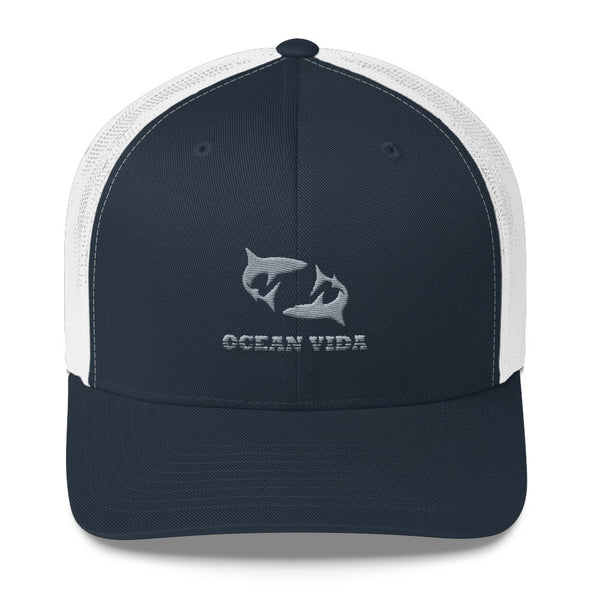 Navy and White Outdoor Trucker Cap with Gray Logo