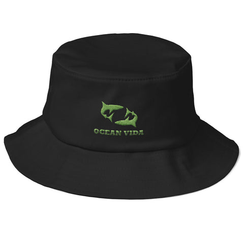 Black Old School Bucket Hat with Moss Green Logo