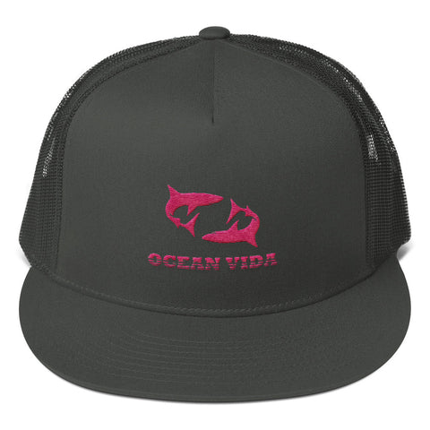 Charcoal Foam Trucker Cap with Pink Logo