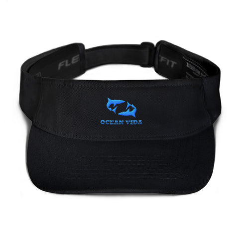Black Visor with Sky Blue Logo