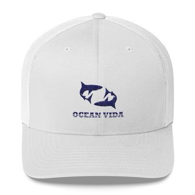 White Outdoor Trucker Cap with Navy Logo