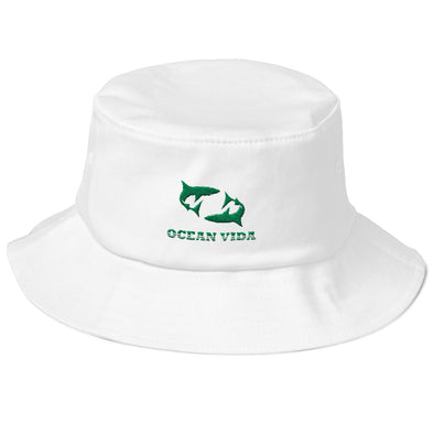 White Old School Bucket Hat with Seaweed Green Logo