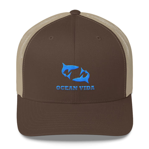 Brown and Sand Outdoor Trucker Cap with Sky Blue Logo