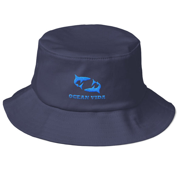 Navy Old School Bucket Hat with Sky Blue Logo