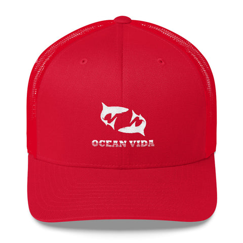 Red Outdoor Trucker Cap with White Logo