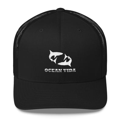 Black Outdoor Trucker Cap with White Logo
