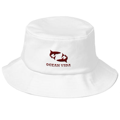 White Old School Bucket Hat with Maroon Logo