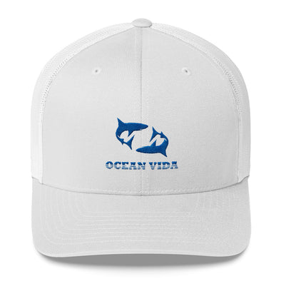 White Outdoor Trucker Cap with Blue Logo