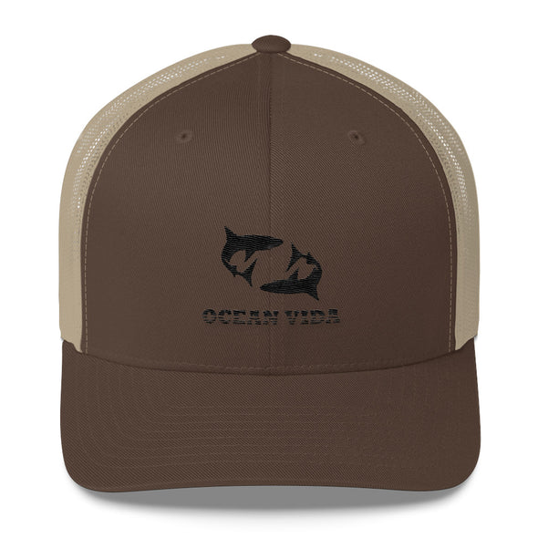 Brown and Sand Outdoor Trucker Cap with Black Logo