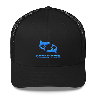 Black Outdoor Trucker Cap with Sky Blue Logo