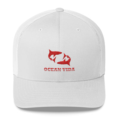 White Outdoor Trucker Cap with Red Logo