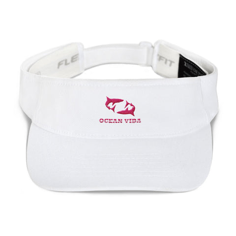 White Visor with Pink Logo