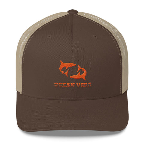 Brown and Sand Outdoor Trucker Cap with Orange Logo