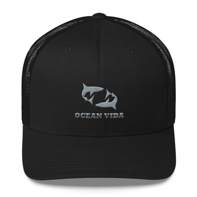 Black Outdoor Trucker Cap with Gray Logo