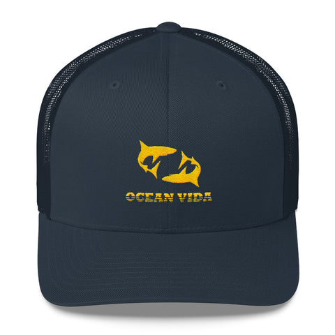 Navy Outdoor Trucker Cap with Yellow Logo